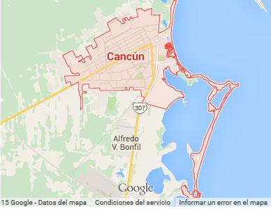 Mapa de Cancún