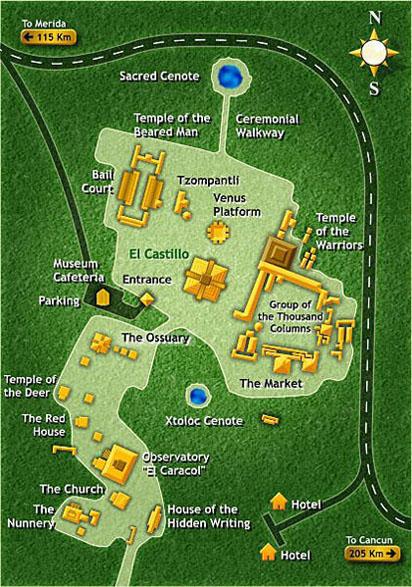 Map Of Chichen Itzas Mayan Ruins Cancun